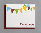 Flags Birthday Party A2 Folded Thank You Cards (Set of 10)