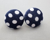 "3/4"" Size 30 Navy and White Dots Fabric Covered Button Earrings"