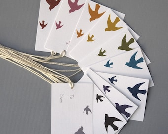 Birds Gift Tags - Colors of Your Choice (Set of 8)