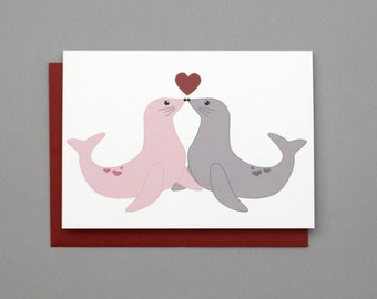Love Seals (seal with a kiss) Valentine's/Wedding/Anniversary/Engagement 4-Bar Folded Card