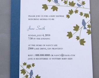 Blue Birds in Trees A2 Flat Note Baby Shower Invitations (Choose your envelope color) (Set of 10)