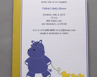 Purple Hippo A2 Flat Note Baby Shower Invitations (Set of 10)