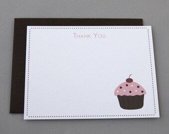 Cupcake Baby Shower (Thank You) A2 Flat Note Cards (Set of 10)