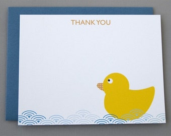 Yellow Duck Baby Shower (Thank You) A2 Flat Note Cards (Choose your envelope color) (Set of 10)