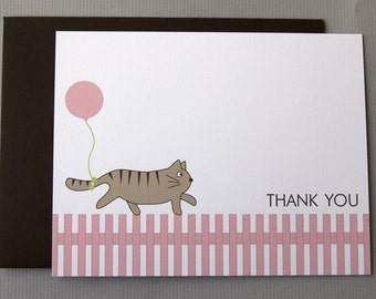 Cat with Pink Balloon Baby Shower (Thank You) A2 Flat Note Cards (Choose your envelope color) (Set of 10)