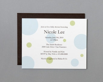 Blue and Green Dots A2 Flat Note Baby Shower Invitations (Choose your envelope color) (Set of 10)