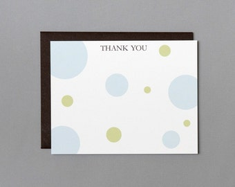 Blue and Green Dots Baby Shower (Thank You) A2 Flat Note Cards (Choose your envelope color) (Set of 10)