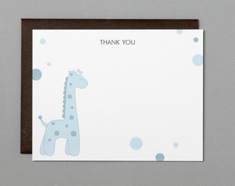 Blue Giraffe Baby Shower (Thank You) A2 Flat Note Cards (Choose your envelope color) (Set of 10)