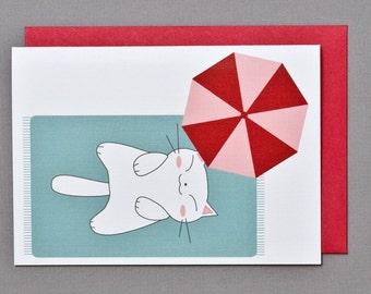 White Cat (Happy Birthday) 4-Bar Folded Card