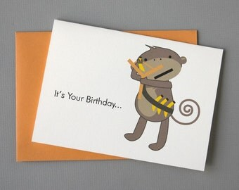 Monkey (Happy Birthday) 4-Bar Folded Card