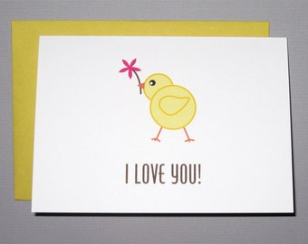Little Chick with Flower Mother's Day 4-Bar Folded Card