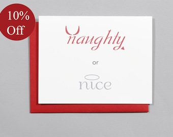 HOLIDAY SALE -- 10% OFF Naughty or Nice Christmas A2 Folded Card