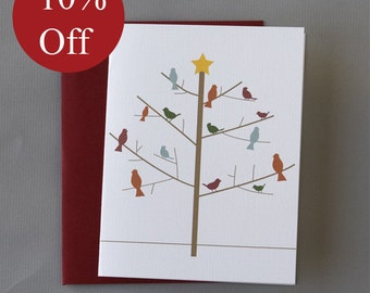 HOLIDAY SALE -- 10% OFF Winter Tree and Birds Holiday A2 Folded Card