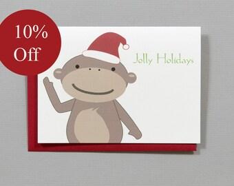 HOLIDAY SALE -- 10% OFF Monkey Christmas (Jolly Holidays) 4-Bar Folded Card