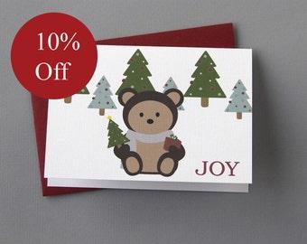 HOLIDAY SALE -- 10% OFF Christmas Bear (Joy) 4-Bar Folded Card