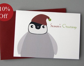 HOLIDAY SALE -- 10% OFF Christmas Penguin (Seasons Greetings) 4-Bar Folded Card