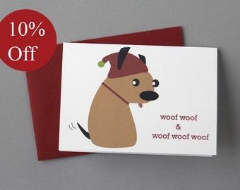 HOLIDAY SALE -- 10% OFF Rat Dog Christmas 4-Bar Folded Card