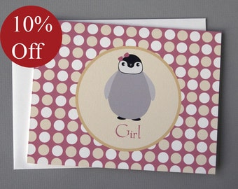 HOLIDAY SALE -- 10% OFF Penguin (Girl) A2 Folded Card
