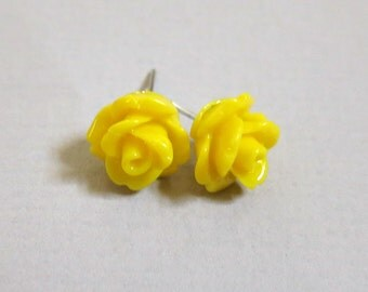 Yellow Resin Rose Cabochons 10mm Earrings