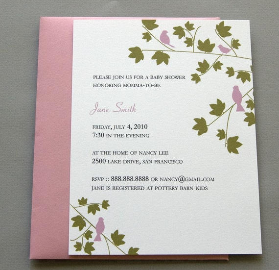 Pink Birds in Trees A2 Flat Note Baby Shower Invitations (Choose your envelope color) (Set of 10)