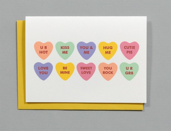 Conversation Heart Candies Valentine's 4-Bar Folded Card