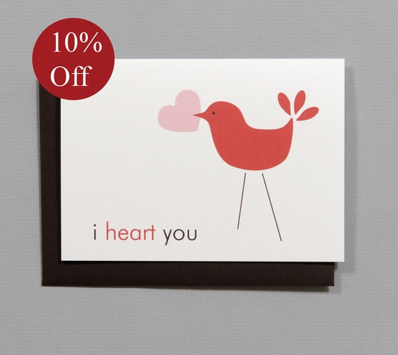 HOLIDAY SALE -- 10% OFF Little Bird (I Heart You) Valentine's/Wedding/Anniversary/Engagement 4-Bar Folded Card