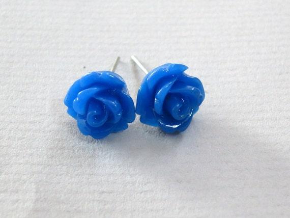 Royal Blue Resin Rose Cabochons 10mm Earrings