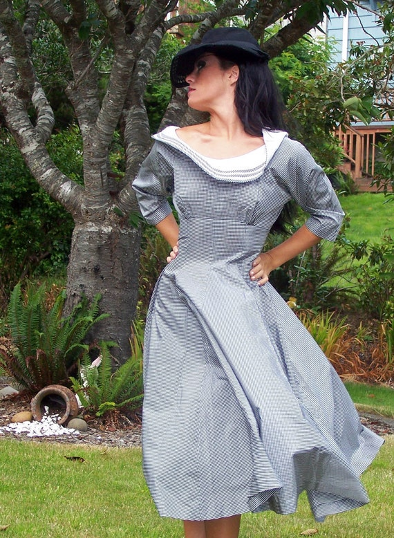 Vintage 1940s  Couture Black and White Taffeta  Dress-MINT condition