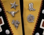 Southwest  Silver Button Covers Set Of Five/ Boots / Saddle / Longhorn / Texas Star /  Indian Chief Button Covers