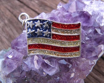 Vintage American Flag Red White And Blue Enameled Silver Tone Charm/Pendant
