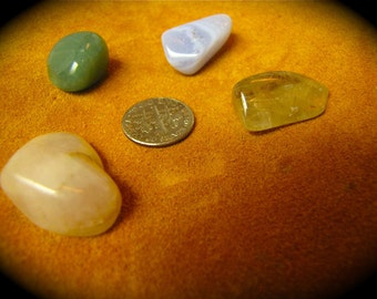 Tumbled Crystals Set Of 4 - Rutilated Quartz/ Rose Quartz/ Adventurine/ Blue lace Agate Meditation Stones