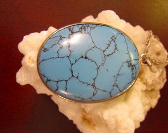 Vintage Sky Blue Turquoise Howlite Silver  Pendant, Oval Turquoise Southwest Pendant