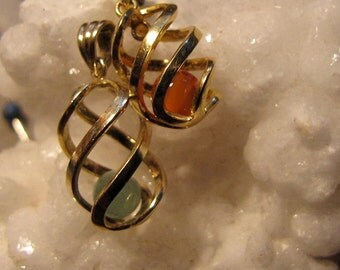 Vintage  Chinese  Carnelian Or Green Jade  Gold  Vermeil  Over Sterling Silver Pendant