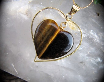 Vintage Gold Tigers Eye Heart  Pendant  Tiger's Eye Pendant -Browns & Golds Cats Eyes