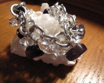 Amethyst Crystal Aluminum Bracelet /Deep Purple Amethyst and Cut Crystal / Balancing & Healing