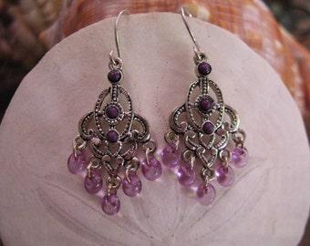 Amethyst and Silver Tone  Chandelier  Pierced Earrings.
