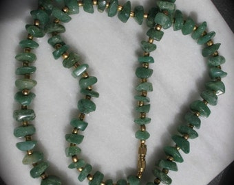 Vintage Green Aventurine  Amulet/Talisman  Necklace Reiki Healing Color