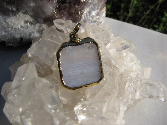 Blue Lace Agate in 14k Gold electroplated Pendant -  Healing Crystal Reiki- Crystal sale