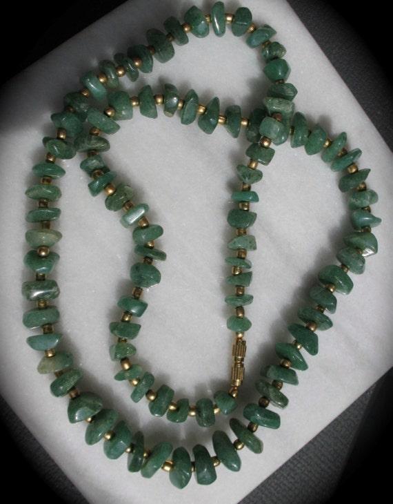 Vintage Green Aventurine  Amulet/Talisman  Necklace Reiki Healing Color
