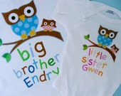 Big Brother Shirt, and Little Sister Owl Onesie or Shirt Set Personalized Owl Tee Shirt or Onesie Set of Two (02262014d)