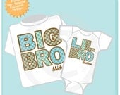 Set of Two Big Brother and Lil Little Brother Shirt Personalized Infant, Plaid Toddler or Youth Tee Shirt or Onesie (01022014d)