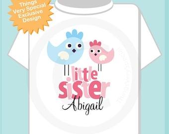 Little Sister Shirt, Little Sister Onesie, Cute Birds Shirt, Little Sister Big Brother Shirt, Personalized Shirt (12142011b)