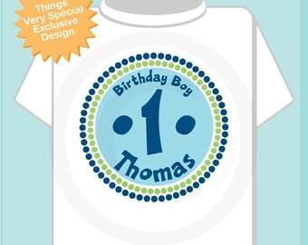 Birthday Shirt, One Year Old Birthday, Blue Birthday Shirt, Personalized Birthday Boy Circle Design Tee or Onesie Green and Blue (08302010a)