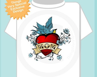 Boy's Mother's Day Mom Tattoo Shirt for kids, Tattoo Heart Shirt, Personalized Tattoo Heart tshirt kids (01182011a)