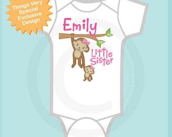 Little Sister onesie, Little Sister Shirt, Personalized Little Sister Big Sister Monkey Tee Shirt or Onesie (01292014d)