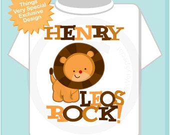 Leo Lion Shirt or Onesie, Leos Rock Lion July or August Birthday Baby Tee Shirt or Onesie (08022011a)