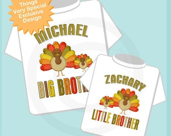 Thanksgiving shirts, Sibling Turkey Shirt Set of Two, Big Brother, Little Brother, Big Sister, or Little Sister, Personalized