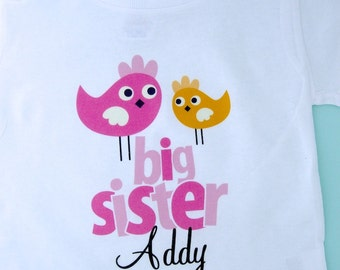 Big Sister Shirt or Onesie, Sister Bird Shirt, Sibling Shirt, Personalized Big Sister Tshirt with Cute Pink and Orange Birdies (12222011a)