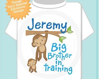 Boys Big Brother In Training Shirt or Onesie, Monkey, Big Brother Monkey, Personalized Big Brother Monkey Tee Shirt or bodysuit (11242011a)