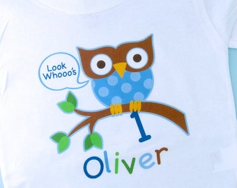 Owl Birthday Shirt, Personalized Boys Owl Birthday Shirt or Onesie with Child's Name and age (11232010a)